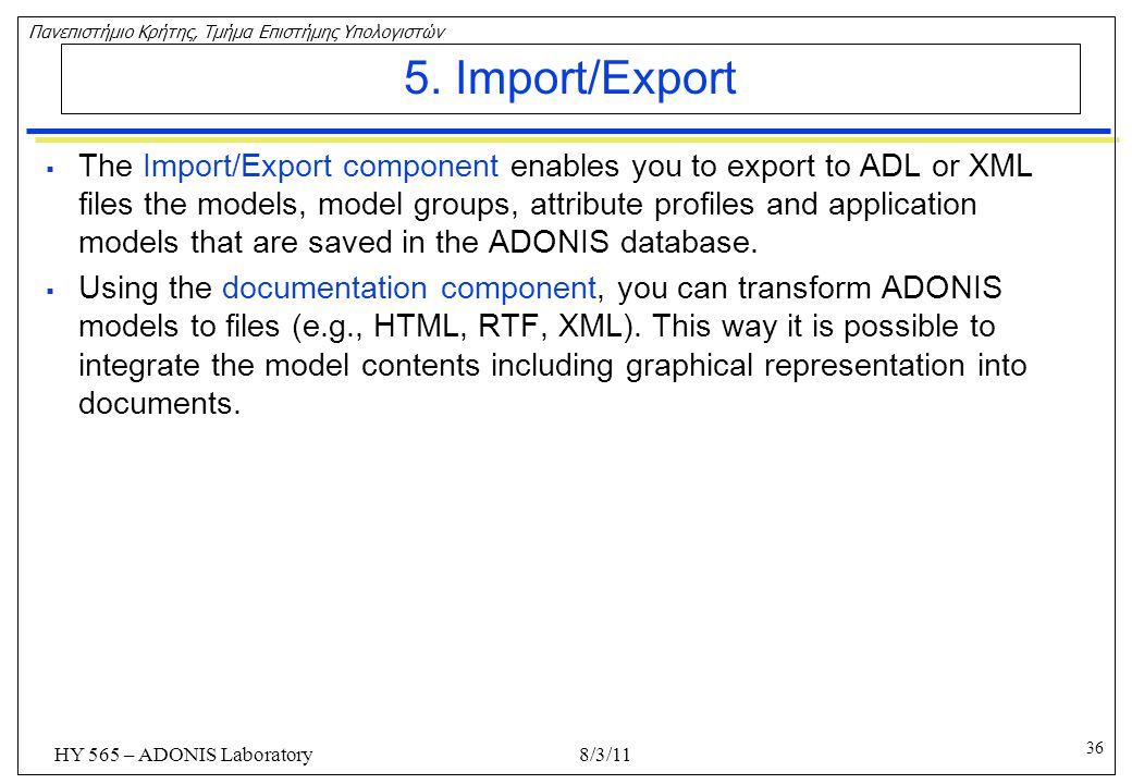 5. Import/Export