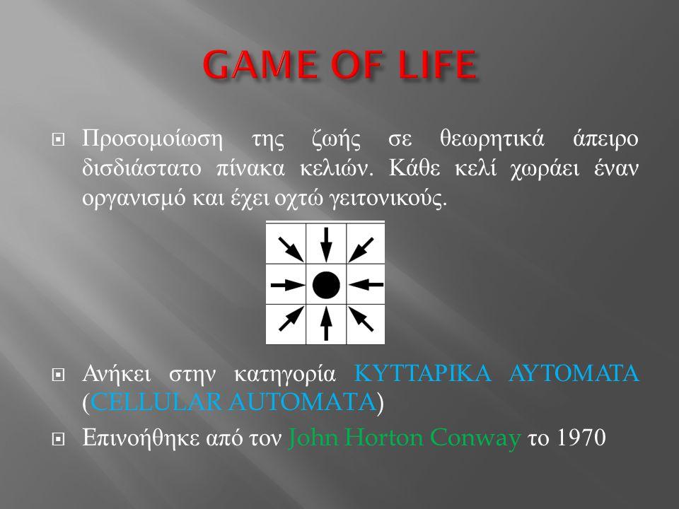 GAME OF LIFE Προσομοίωση της ζωής σε θεωρητικά άπειρο δισδιάστατο πίνακα κελιών. Κάθε κελί χωράει έναν οργανισμό και έχει οχτώ γειτονικούς.