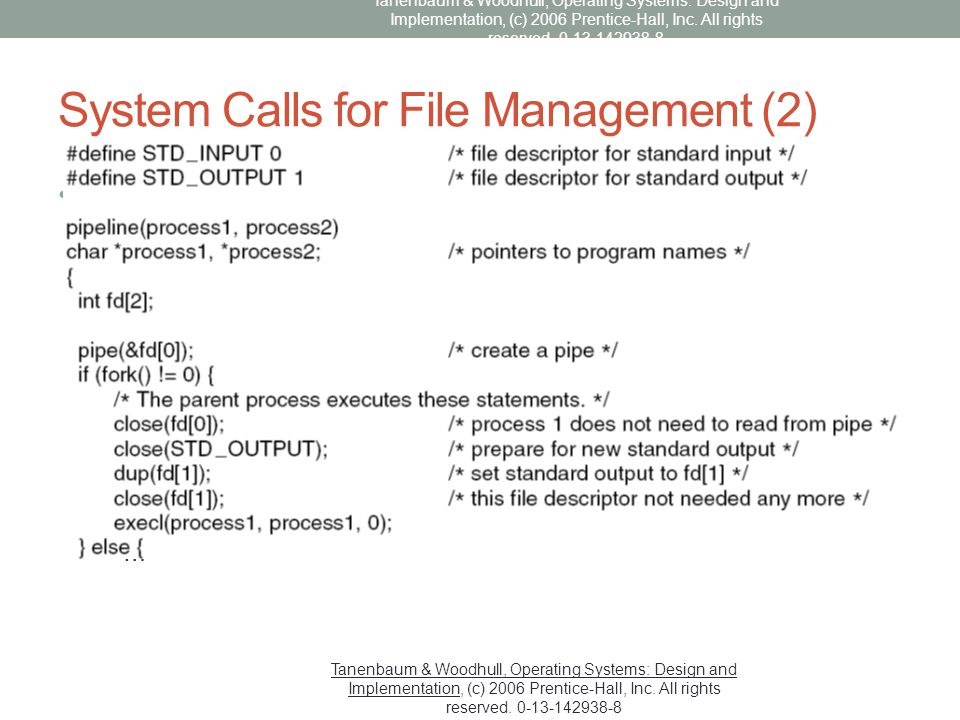 System Calls for File Management (2)