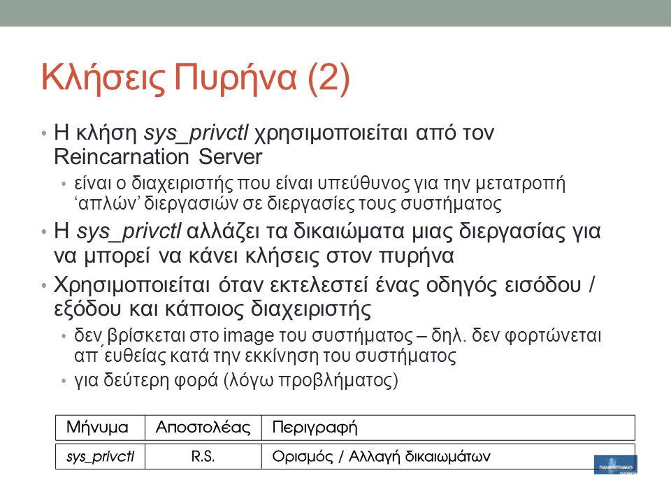 Κλήσεις Πυρήνα (2) Η κλήση sys_privctl χρησιμοποιείται από τον Reincarnation Server.