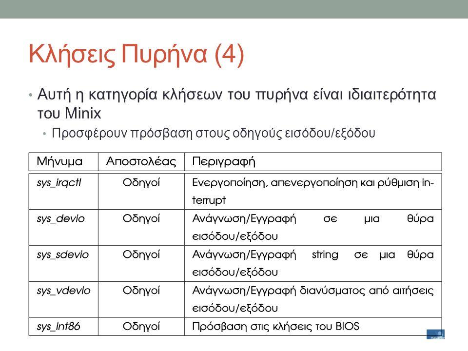 Κλήσεις Πυρήνα (4) Αυτή η κατηγορία κλήσεων του πυρήνα είναι ιδιαιτερότητα του Minix.