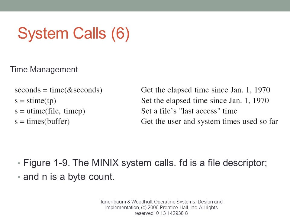 System Calls (6) Time Management. Figure 1-9. The MINIX system calls. fd is a file descriptor; and n is a byte count.
