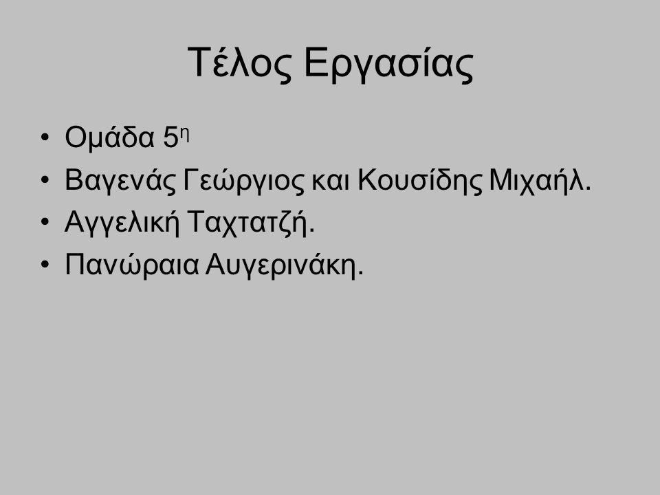 Τέλος Εργασίας Ομάδα 5η Βαγενάς Γεώργιος και Κουσίδης Μιχαήλ.