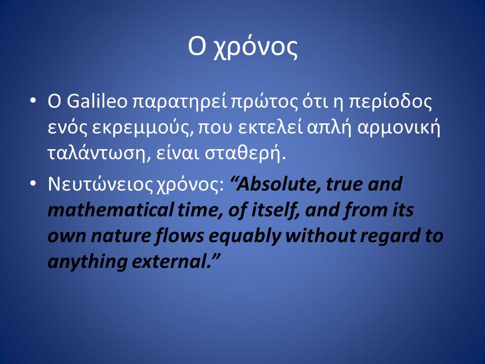 Ο χρόνος Ο Galileo παρατηρεί πρώτος ότι η περίοδος ενός εκρεμμούς, που εκτελεί απλή αρμονική ταλάντωση, είναι σταθερή.