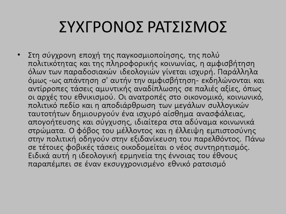 ΣΥΧΓΡΟΝΟΣ ΡΑΤΣΙΣΜΟΣ