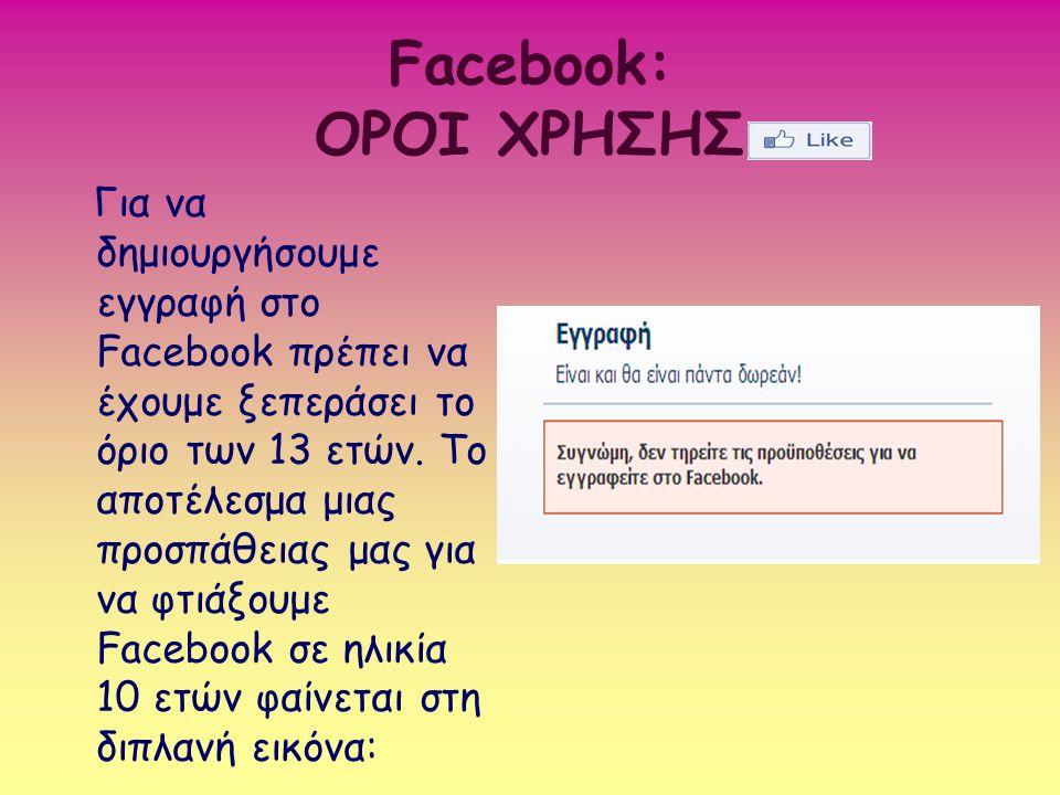 Facebook: ΟΡΟΙ ΧΡΗΣΗΣ