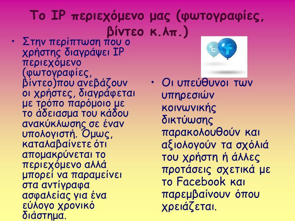 Το IP περιεχόμενο μας (φωτογραφίες, βίντεο κ.λπ.)