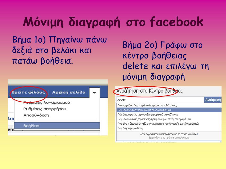 Μόνιμη διαγραφή στο facebook