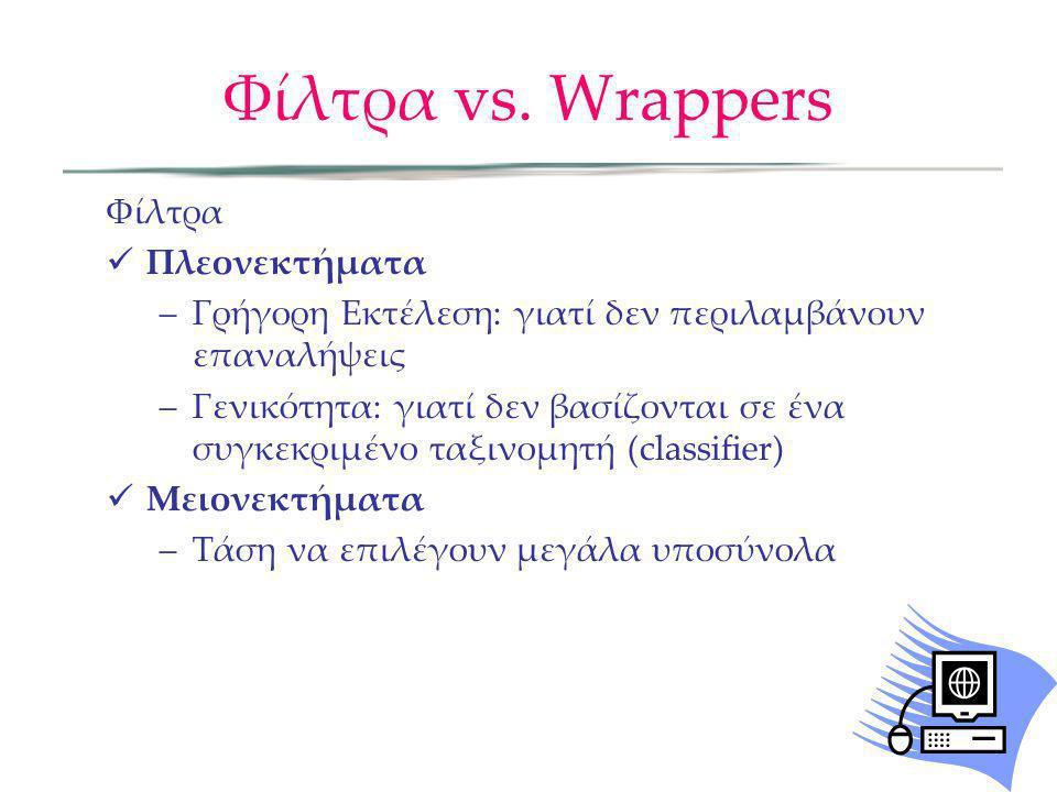 Φίλτρα vs. Wrappers Φίλτρα Πλεονεκτήματα