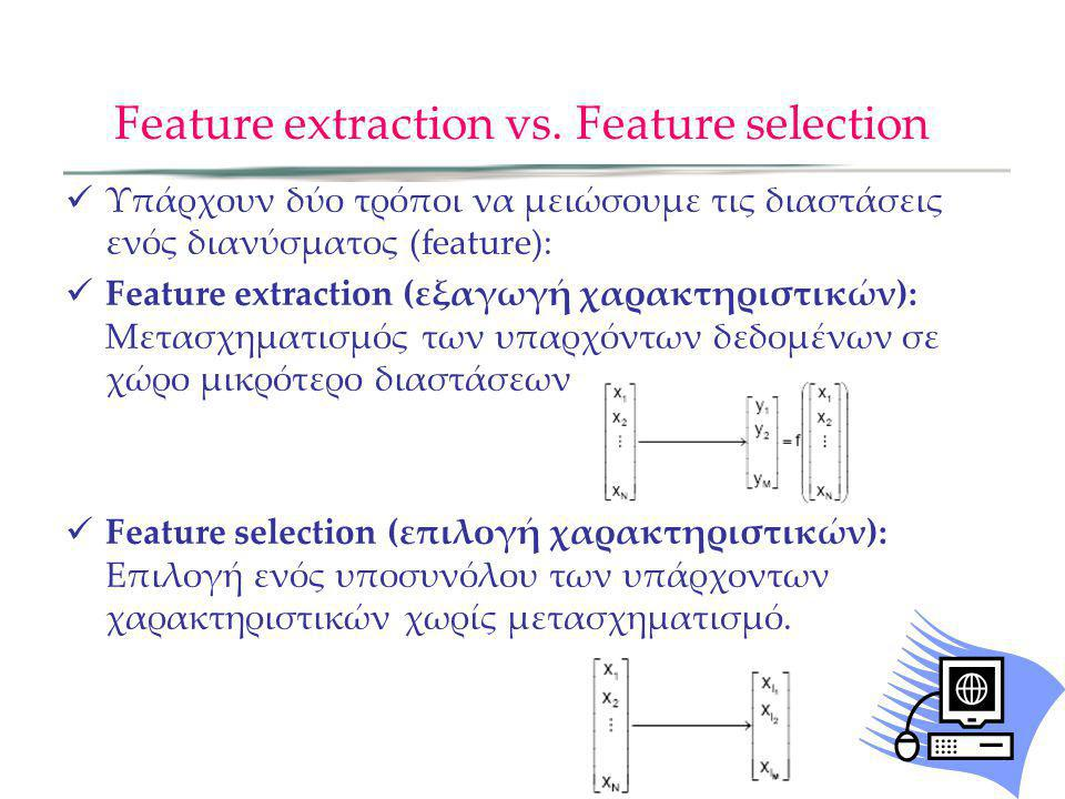Feature extraction vs. Feature selection