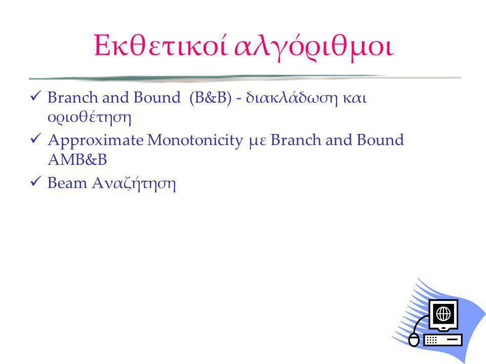 Εκθετικοί αλγόριθμοι Branch and Bound (Β&Β) - διακλάδωση και οριοθέτηση. Approximate Monotonicity με Branch and Bound ΑΜΒ&Β.