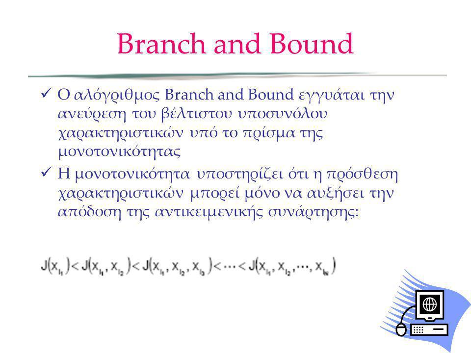 Branch and Bound Ο αλόγριθμος Branch and Bound εγγυάται την ανεύρεση του βέλτιστου υποσυνόλου χαρακτηριστικών υπό το πρίσμα της μονοτονικότητας.