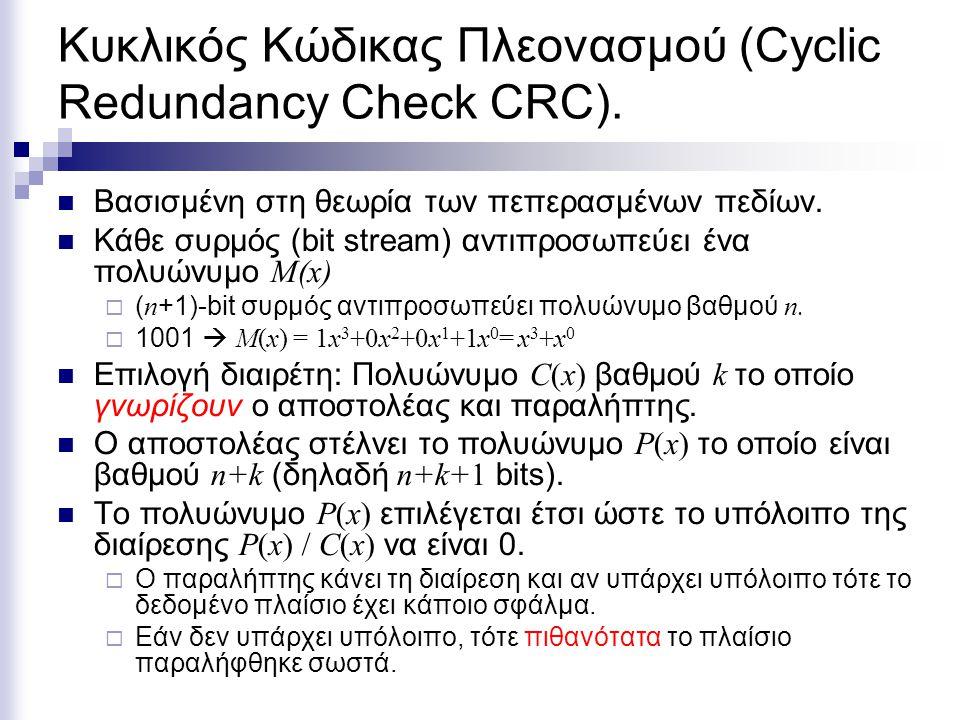 Κυκλικός Κώδικας Πλεονασμού (Cyclic Redundancy Check CRC).