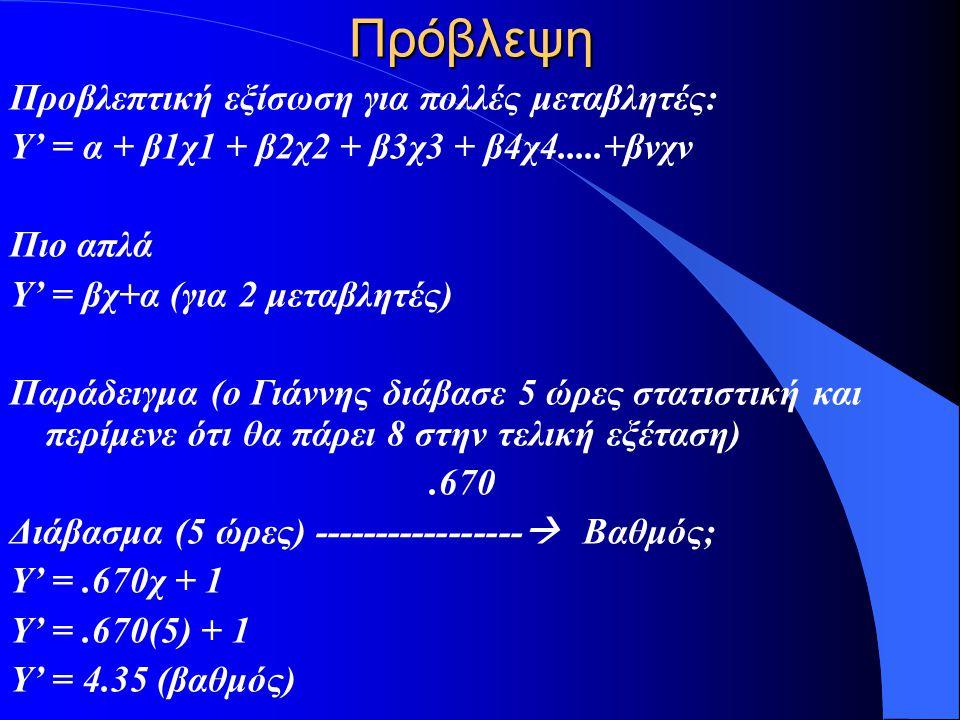 Πρόβλεψη Προβλεπτική εξίσωση για πολλές μεταβλητές: