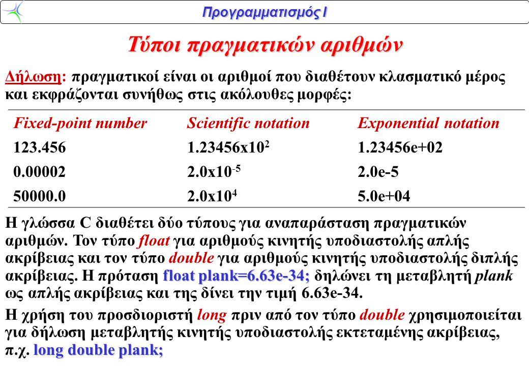 Τύποι πραγματικών αριθμών