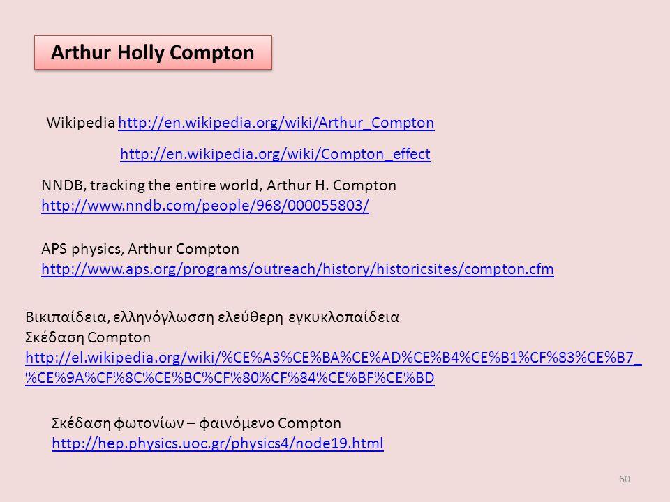 Arthur Holly Compton Wikipedia http://en.wikipedia.org/wiki/Arthur_Compton. http://en.wikipedia.org/wiki/Compton_effect.