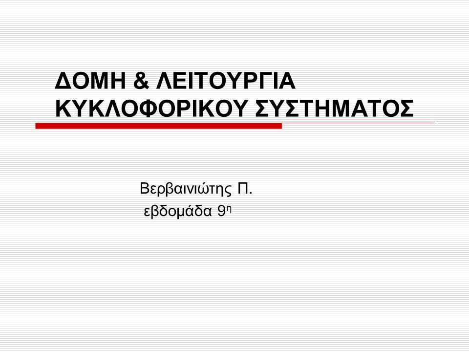 ΔΟΜΗ & ΛΕΙΤΟΥΡΓΙΑ ΚΥΚΛΟΦΟΡΙΚΟΥ ΣΥΣΤΗΜΑΤΟΣ