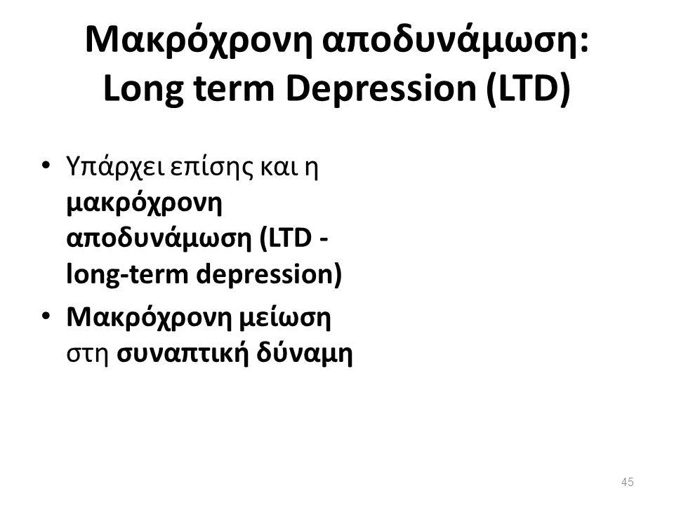 Μακρόχρονη αποδυνάμωση: Long term Depression (LTD)