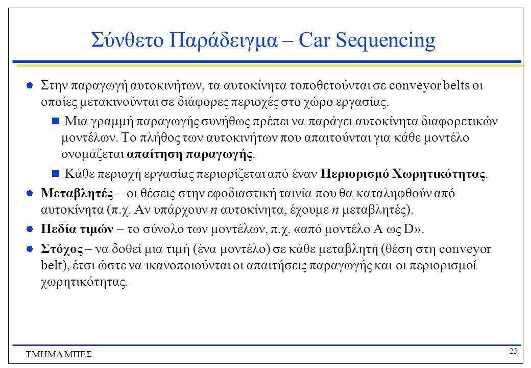 Σύνθετο Παράδειγμα – Car Sequencing