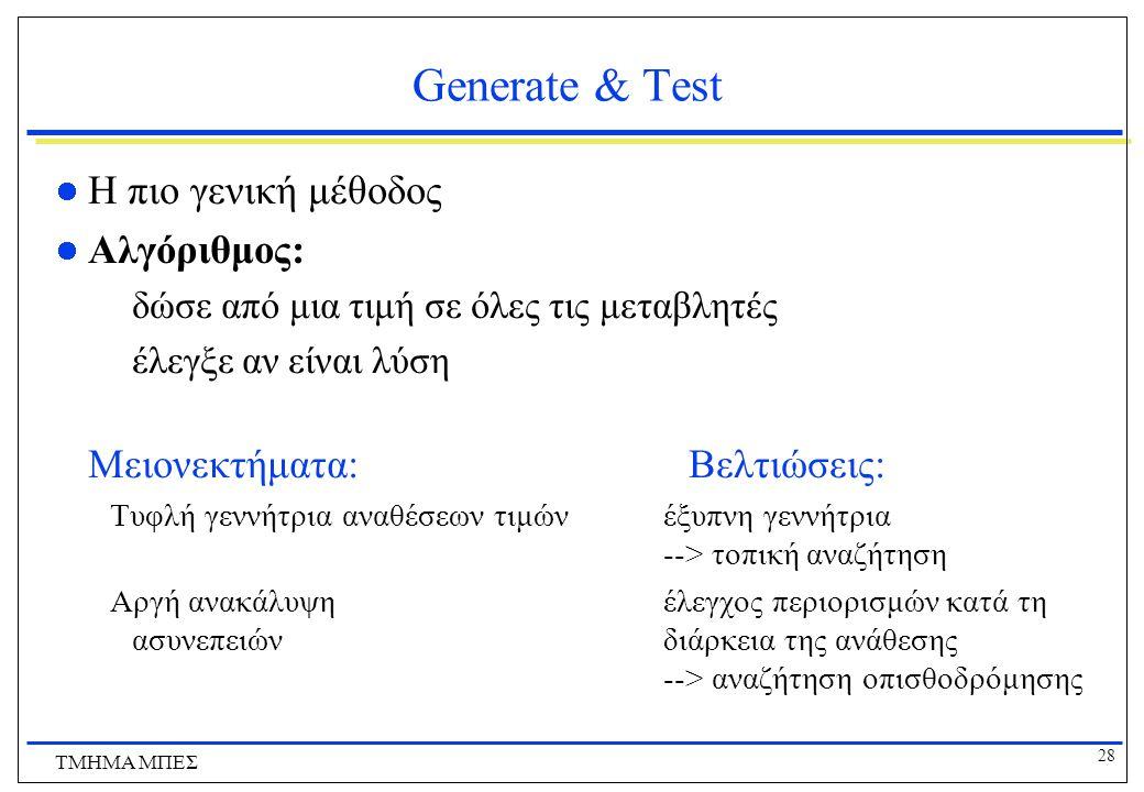 Generate & Test Η πιο γενική μέθοδος Αλγόριθμος: