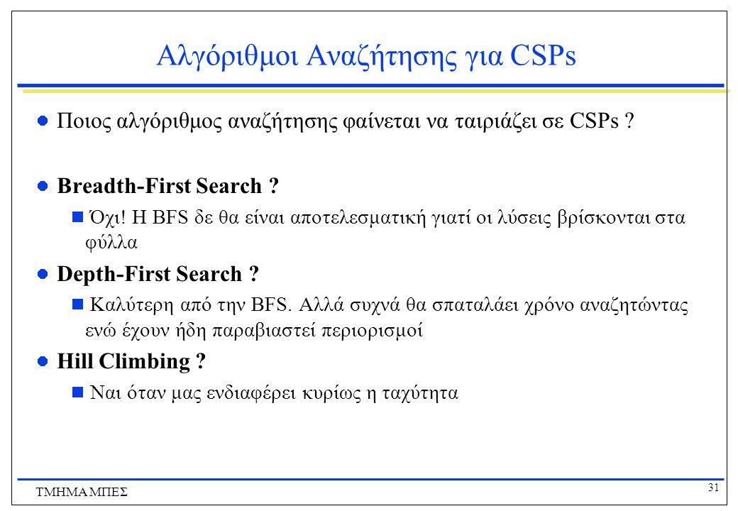 Αλγόριθμοι Αναζήτησης για CSPs