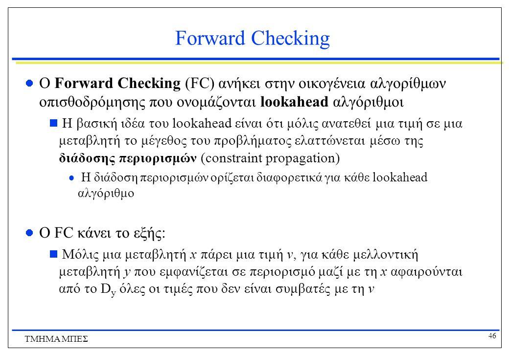 Forward Checking O Forward Checking (FC) ανήκει στην οικογένεια αλγορίθμων οπισθοδρόμησης που ονομάζονται lookahead αλγόριθμοι.