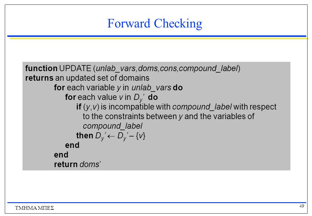 Forward Checking function UPDATE (unlab_vars,doms,cons,compound_label)