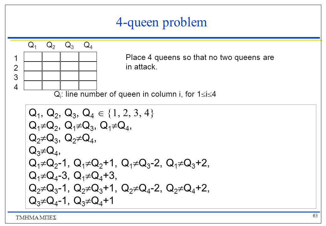 4-queen problem Q1, Q2, Q3, Q4  Q1Q2, Q1Q3, Q1Q4,