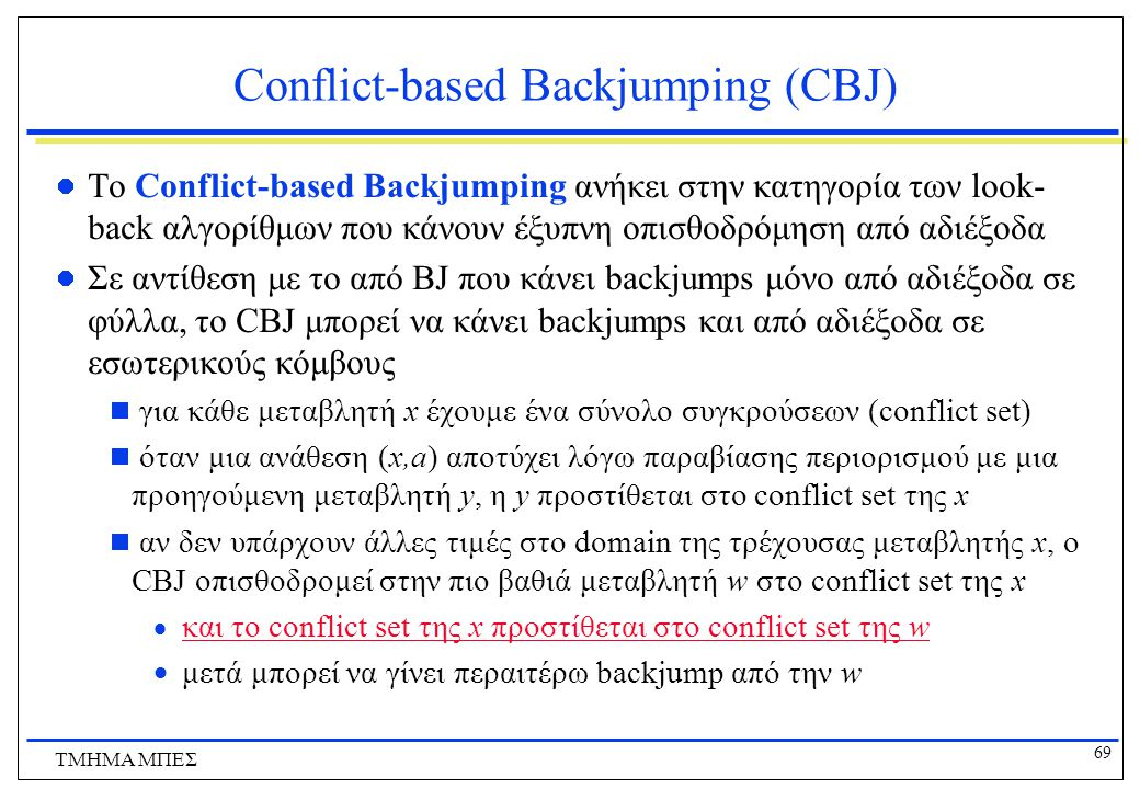 Conflict-based Backjumping (CBJ)