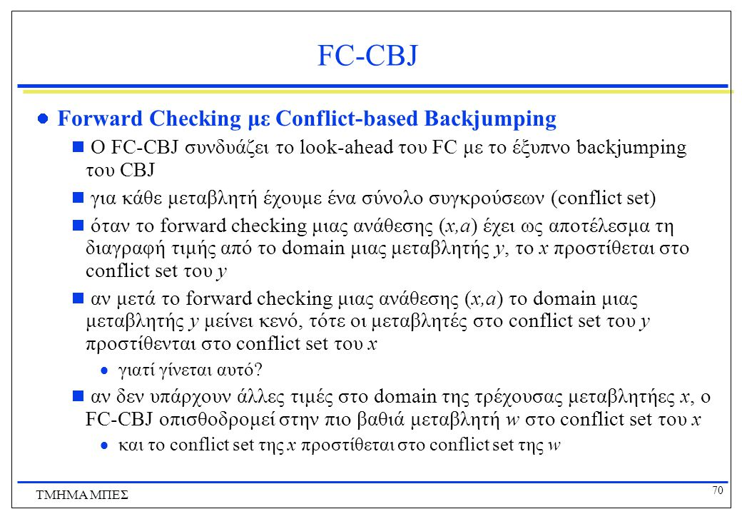 FC-CBJ Forward Checking με Conflict-based Backjumping