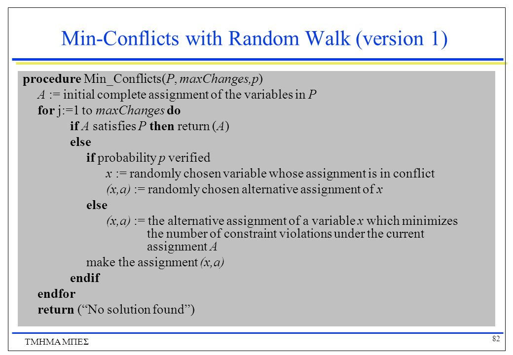 Min-Conflicts with Random Walk (version 1)