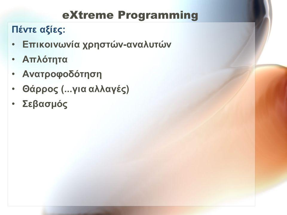 eXtreme Programming Πέντε αξίες: Επικοινωνία χρηστών-αναλυτών Απλότητα