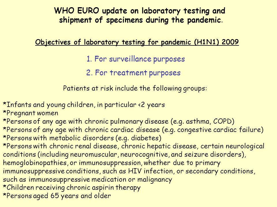 WHO EURO update on laboratory testing and