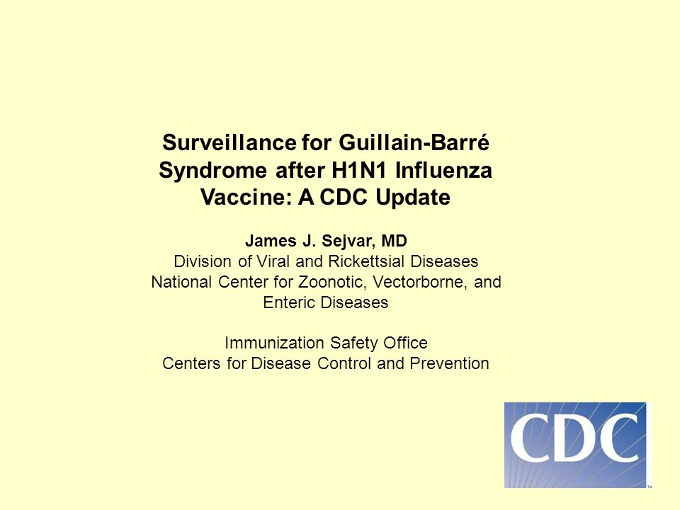 Surveillance for Guillain-Barré Syndrome after H1N1 Influenza Vaccine: A CDC Update