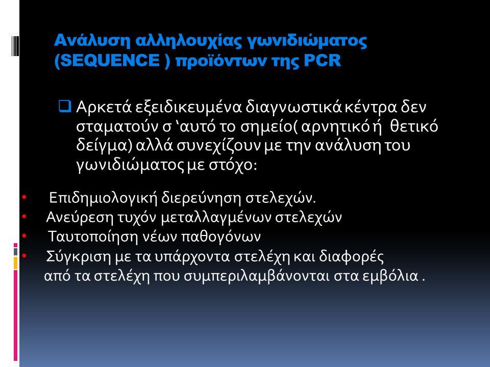 Ανάλυση αλληλουχίας γωνιδιώματος (SEQUENCE ) προϊόντων της PCR α pp