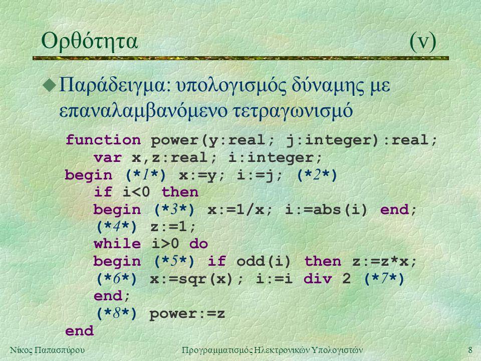 Ορθότητα (v) Παράδειγμα: υπολογισμός δύναμης με επαναλαμβανόμενο τετραγωνισμό. function power(y:real; j:integer):real;