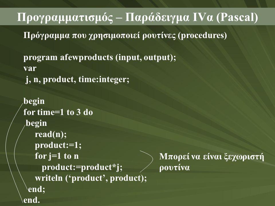 Προγραμματισμός – Παράδειγμα ΙVα (Pascal)