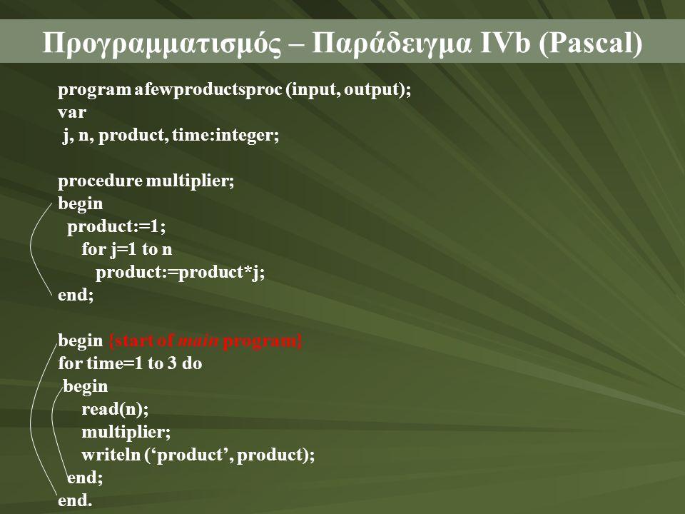 Προγραμματισμός – Παράδειγμα ΙVb (Pascal)