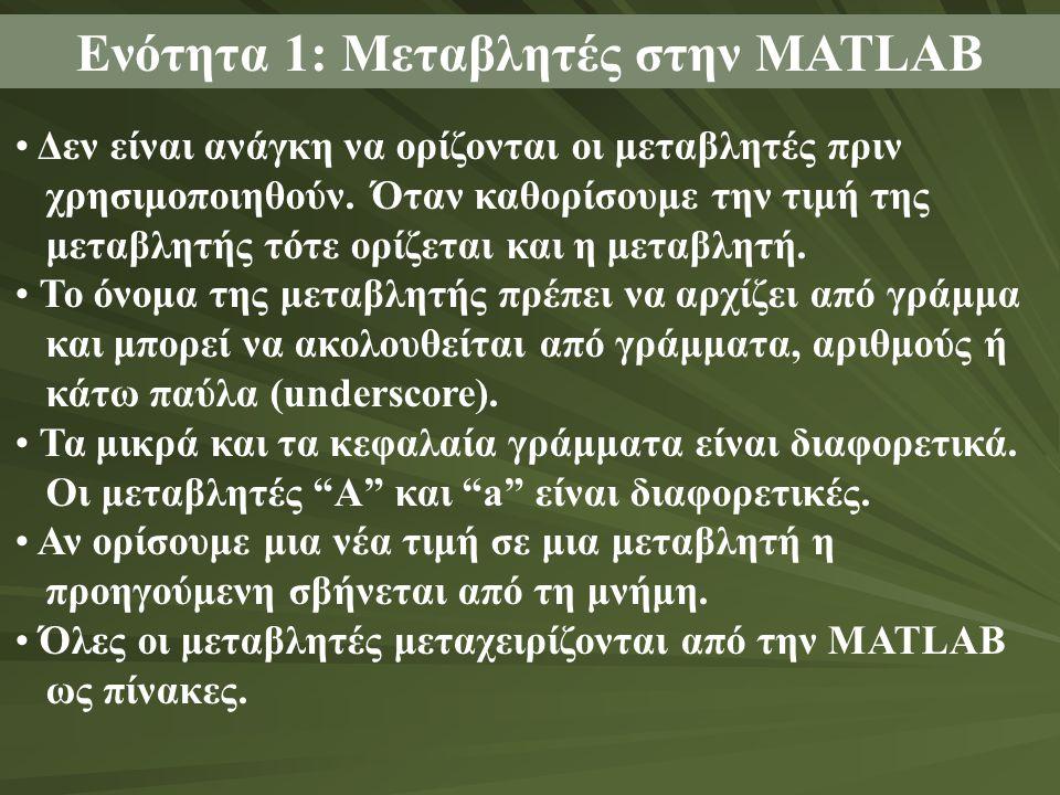 Ενότητα 1: Μεταβλητές στην MATLAB