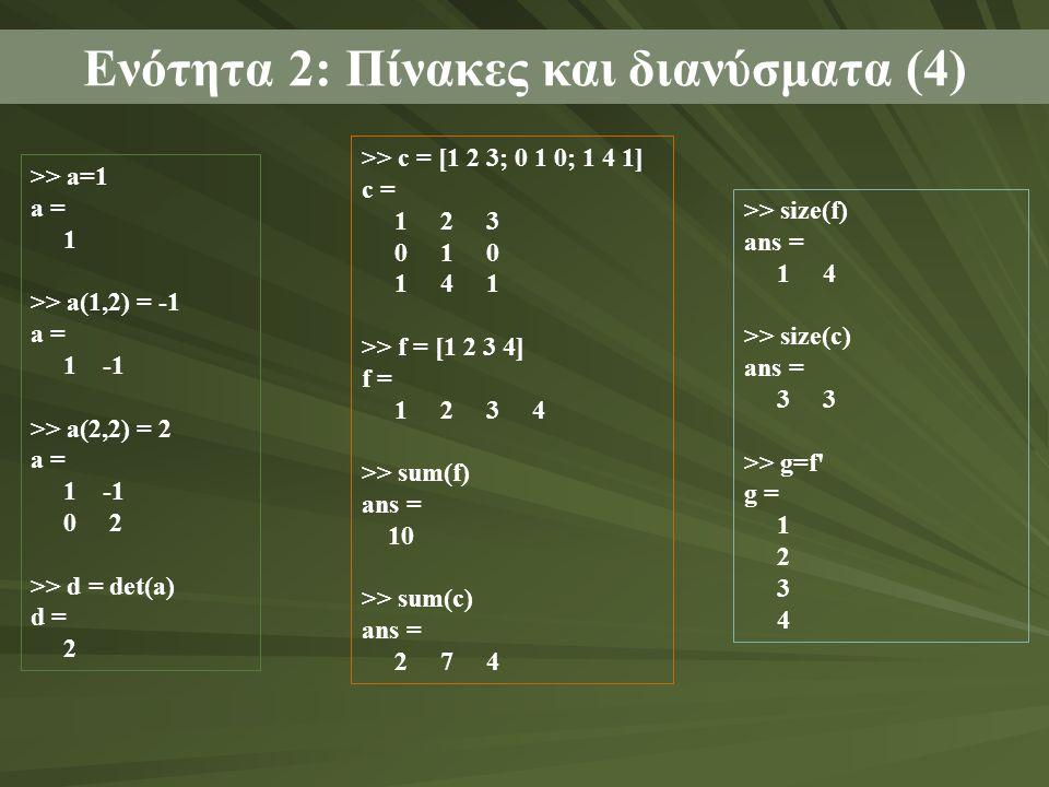 Ενότητα 2: Πίνακες και διανύσματα (4)