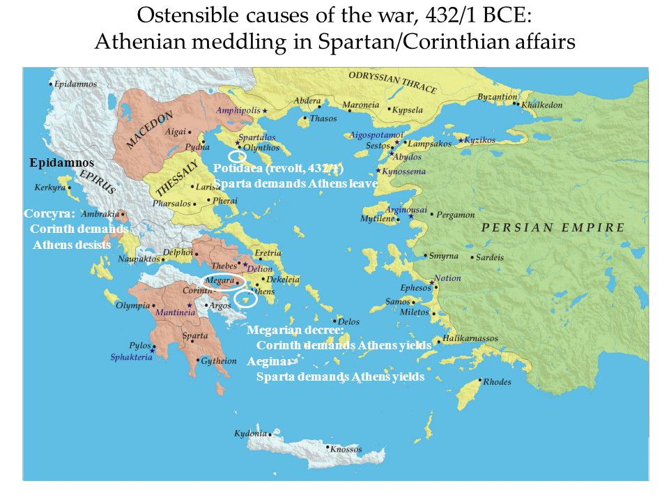 Ostensible causes of the war, 432/1 BCE: Athenian meddling in Spartan/Corinthian affairs