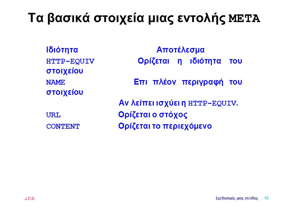 Τα βασικά στοιχεία μιας εντολής META