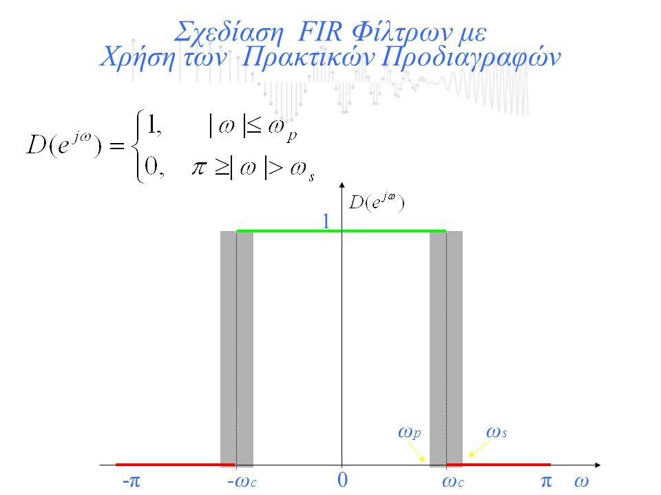Σχεδίαση FIR Φίλτρων με Χρήση των Πρακτικών Προδιαγραφών