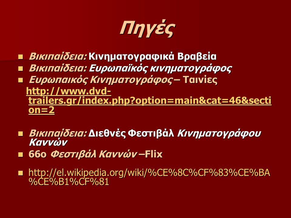 Πηγές Βικιπαίδεια: Κινηματογραφικά Βραβεία