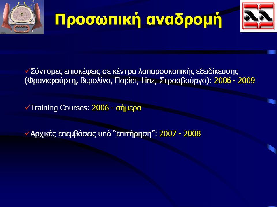 Προσωπική αναδρομή Σύντομες επισκέψεις σε κέντρα λαπαροσκοπικής εξειδίκευσης (Φρανκφούρτη, Βερολίνο, Παρίσι, Linz, Στρασβούργο): 2006 - 2009.