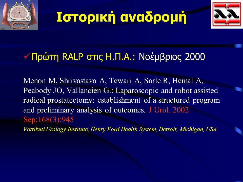 Ιστορική αναδρομή Πρώτη RALP στις Η.Π.Α.: Νοέμβριος 2000