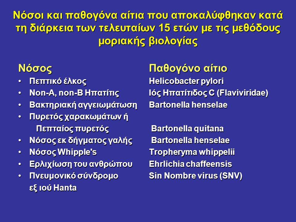 Νόσοι και παθογόνα αίτια που αποκαλύφθηκαν κατά τη διάρκεια των τελευταίων 15 ετών με τις μεθόδους μοριακής βιολογίας