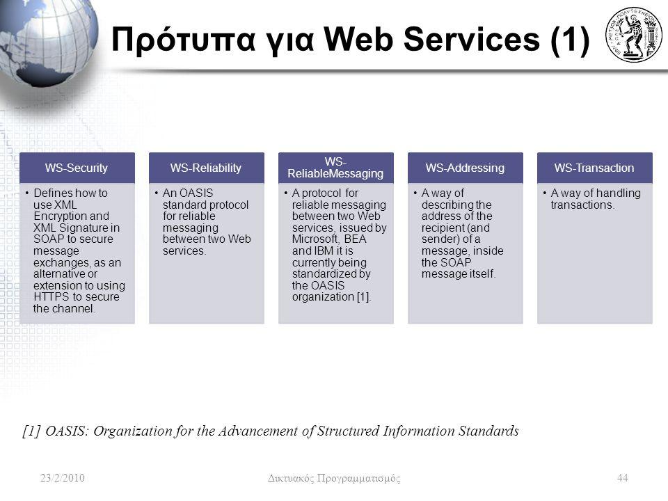 Πρότυπα για Web Services (1)