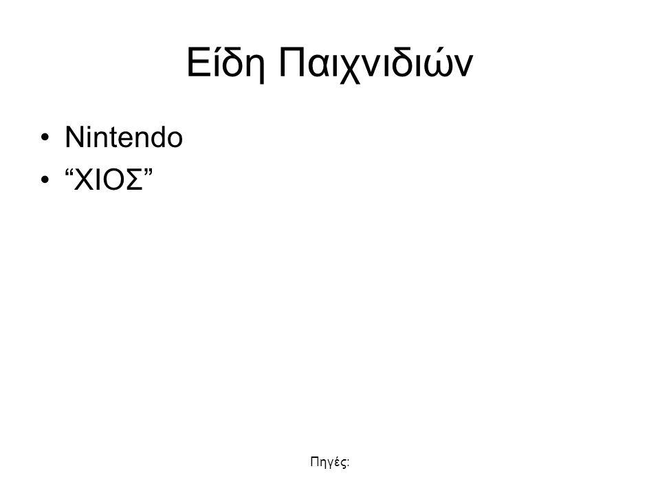 Είδη Παιχνιδιών Nintendo XIOΣ Πηγές: