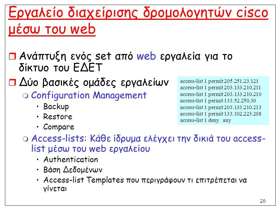 Εργαλείο διαχείρισης δρομολογητών cisco μέσω του web
